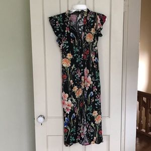 Zara Basic Collection Black Floral Maxi Dress
